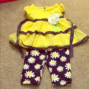 3-6 month girl daisy outfit w/ shirt and leggings